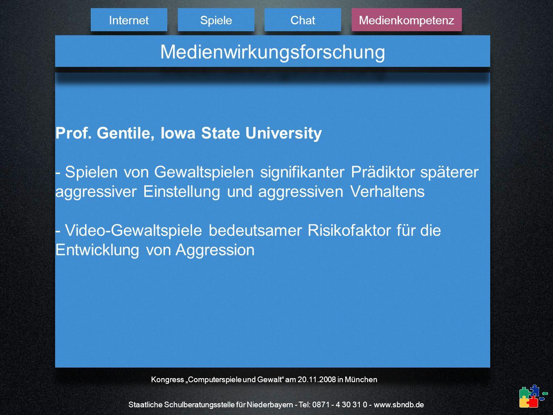 Staatliche Schulberatungsstelle für Niederbayern - Tel: 0871 - 4 30 31 0 - www.sbndb.de Prof. Gentile, Iowa State University - Spielen von Gewaltspiel
