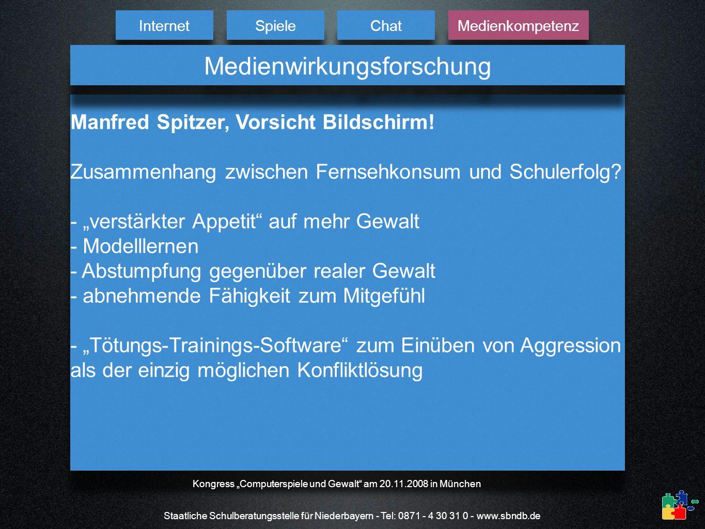 Staatliche Schulberatungsstelle für Niederbayern - Tel: 0871 - 4 30 31 0 - www.sbndb.de Manfred Spitzer, Vorsicht Bildschirm! Zusammenhang zwischen Fe