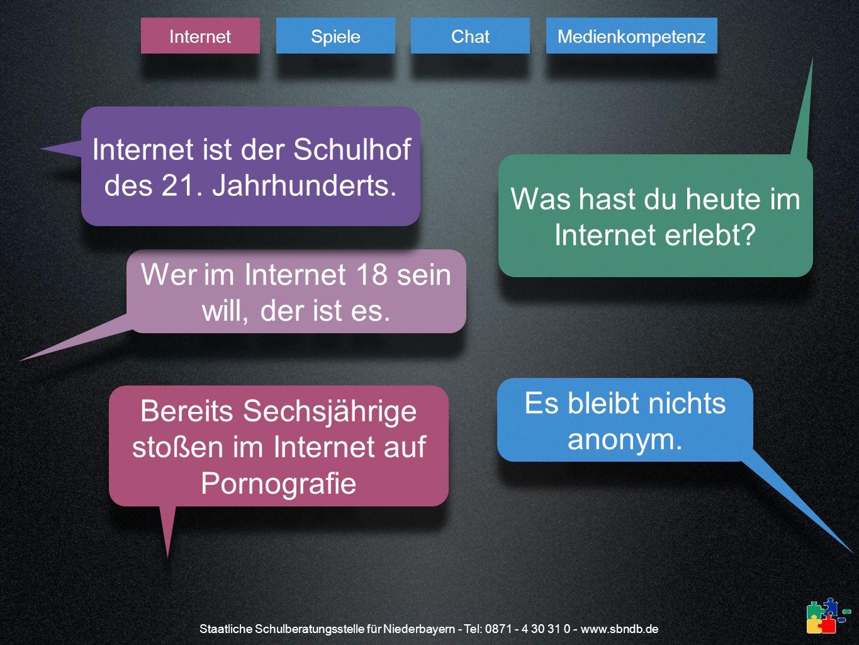Staatliche Schulberatungsstelle für Niederbayern - Tel: 0871 - 4 30 31 0 - www.sbndb.de Was hast du heute im Internet erlebt? Was hast du heute im Int