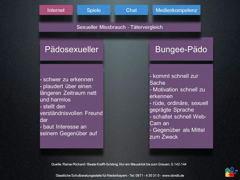Staatliche Schulberatungsstelle für Niederbayern - Tel: 0871 - 4 30 31 0 - www.sbndb.de Pädosexueller Bungee-Pädo - schwer zu erkennen - plaudert über