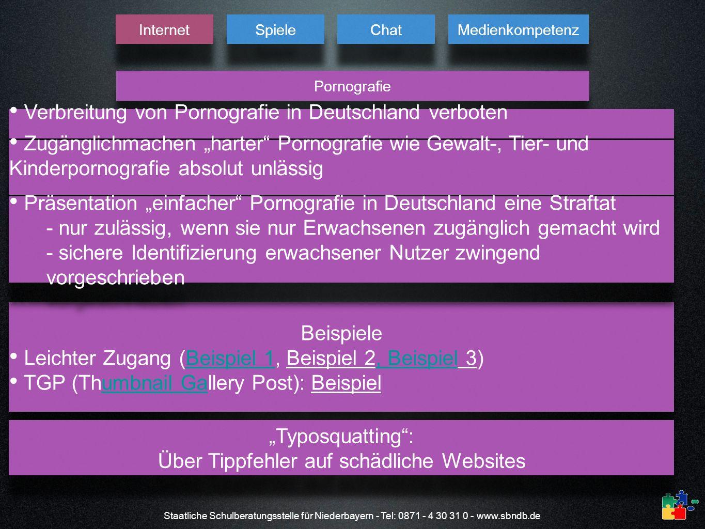 Staatliche Schulberatungsstelle für Niederbayern - Tel: 0871 - 4 30 31 0 - www.sbndb.de Pornografie Internet Spiele Chat Medienkompetenz Verbreitung v