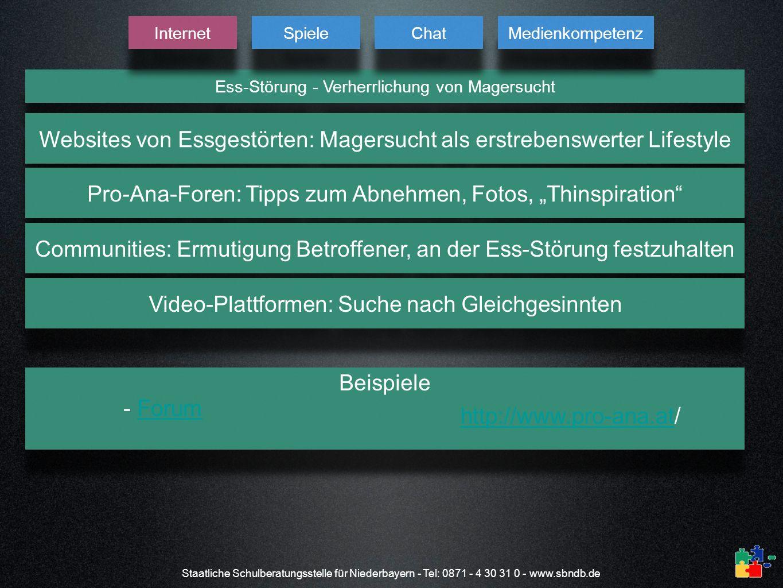 Staatliche Schulberatungsstelle für Niederbayern - Tel: 0871 - 4 30 31 0 - www.sbndb.de Ess-Störung - Verherrlichung von Magersucht Internet Spiele Ch