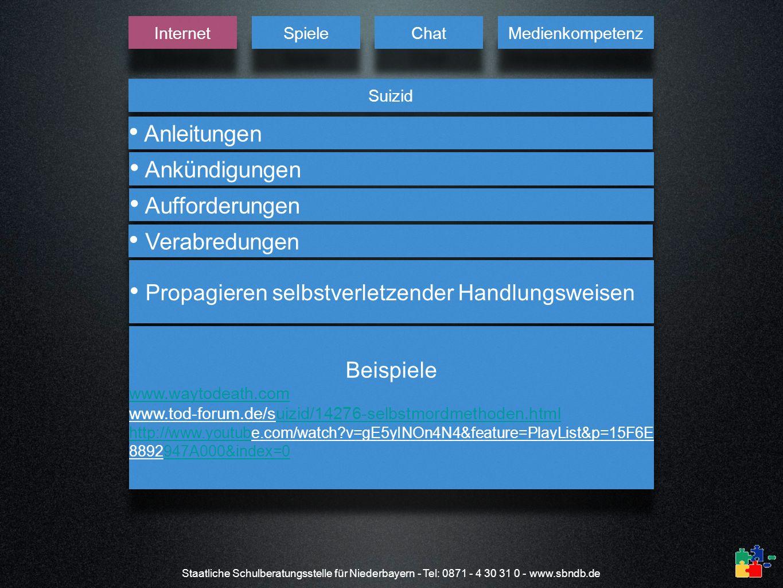 Staatliche Schulberatungsstelle für Niederbayern - Tel: 0871 - 4 30 31 0 - www.sbndb.de Suizid Internet Spiele Chat Medienkompetenz Anleitungen Ankünd