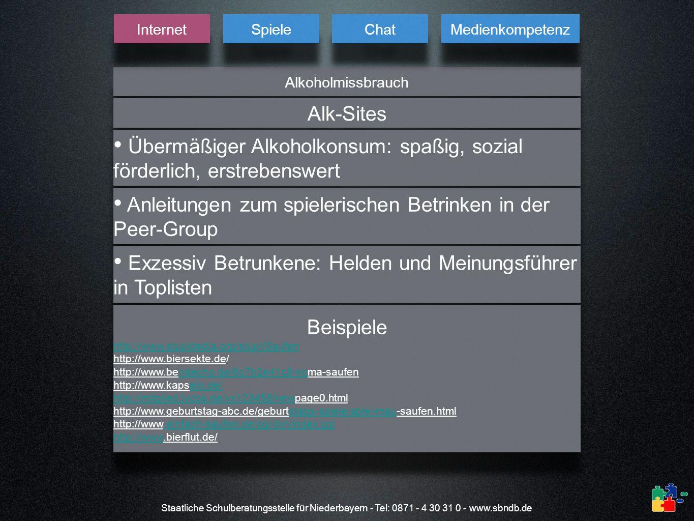 Staatliche Schulberatungsstelle für Niederbayern - Tel: 0871 - 4 30 31 0 - www.sbndb.de Alkoholmissbrauch Internet Spiele Chat Medienkompetenz Alk-Sit