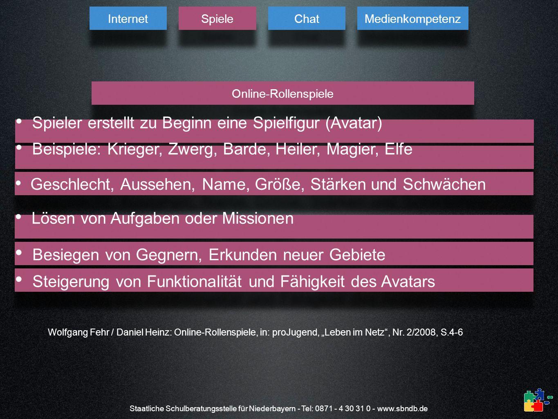 Staatliche Schulberatungsstelle für Niederbayern - Tel: 0871 - 4 30 31 0 - www.sbndb.de Wolfgang Fehr / Daniel Heinz: Online-Rollenspiele, in: proJuge