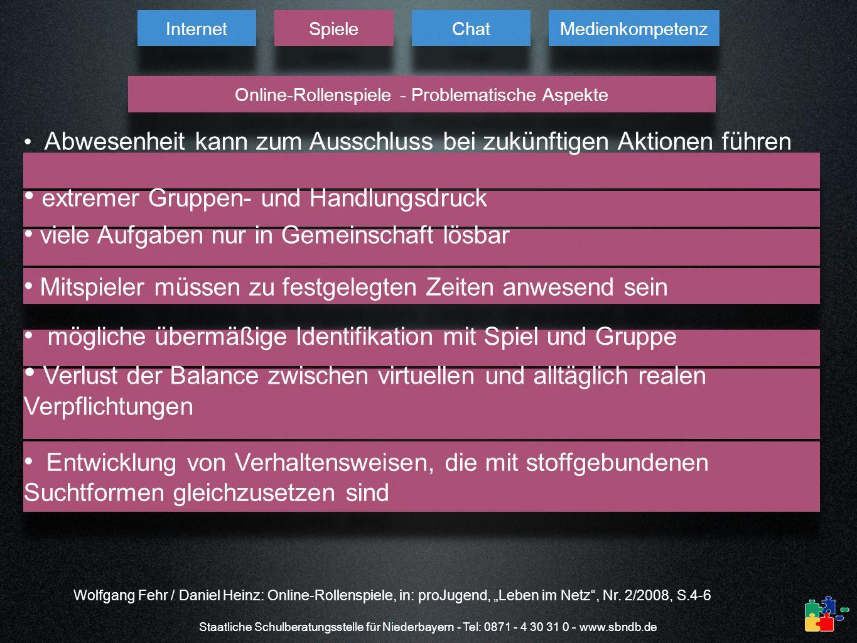 Staatliche Schulberatungsstelle für Niederbayern - Tel: 0871 - 4 30 31 0 - www.sbndb.de Internet Spiele Chat Medienkompetenz Online-Rollenspiele - Pro