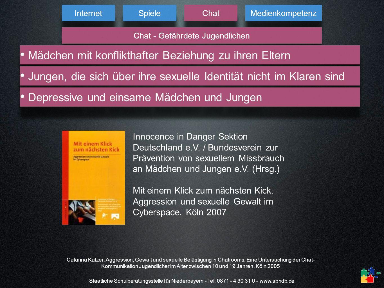 Staatliche Schulberatungsstelle für Niederbayern - Tel: 0871 - 4 30 31 0 - www.sbndb.de Internet Spiele Chat Medienkompetenz Chat - Gefährdete Jugendl