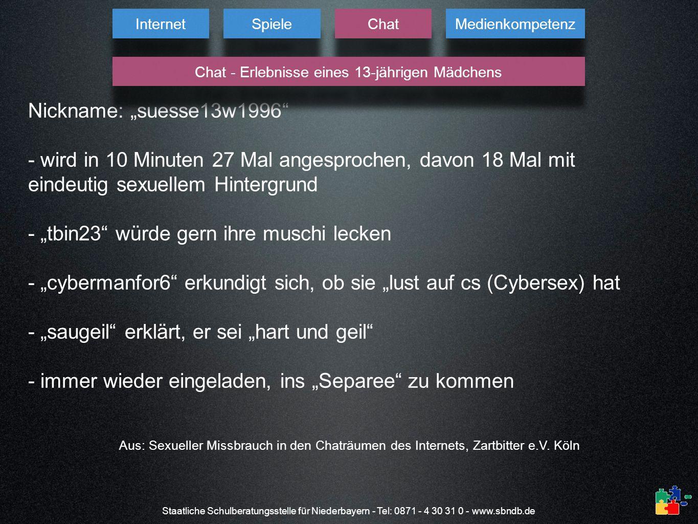 Staatliche Schulberatungsstelle für Niederbayern - Tel: 0871 - 4 30 31 0 - www.sbndb.de Nickname: suesse13w1996 - wird in 10 Minuten 27 Mal angesproch