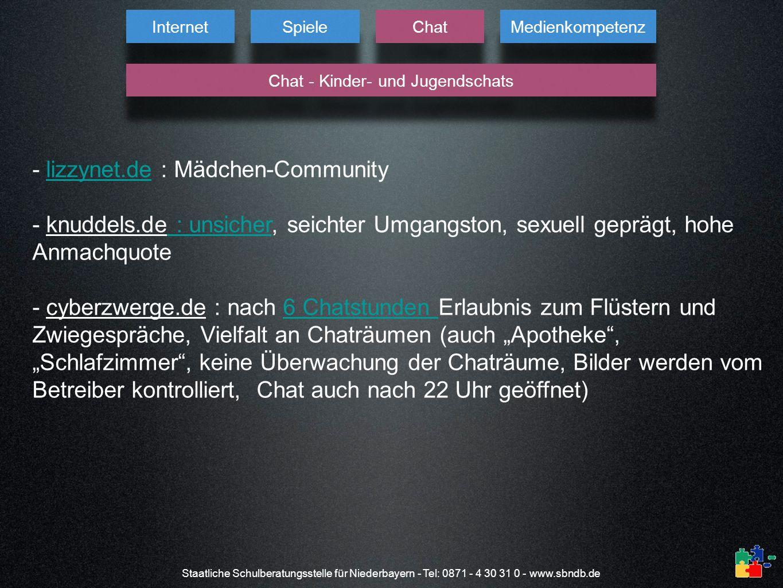 Staatliche Schulberatungsstelle für Niederbayern - Tel: 0871 - 4 30 31 0 - www.sbndb.de - lizzynet.de : Mädchen-Communitylizzynet.de - knuddels.de : u