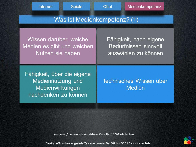Staatliche Schulberatungsstelle für Niederbayern - Tel: 0871 - 4 30 31 0 - www.sbndb.de Was ist Medienkompetenz? (1) Wissen darüber, welche Medien es