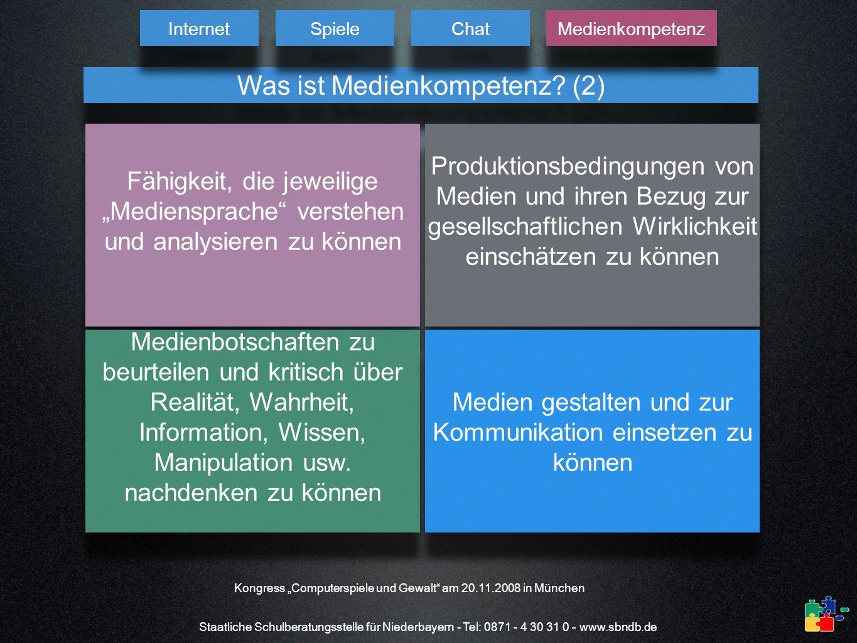 Staatliche Schulberatungsstelle für Niederbayern - Tel: 0871 - 4 30 31 0 - www.sbndb.de Was ist Medienkompetenz? (2) Fähigkeit, die jeweilige Mediensp
