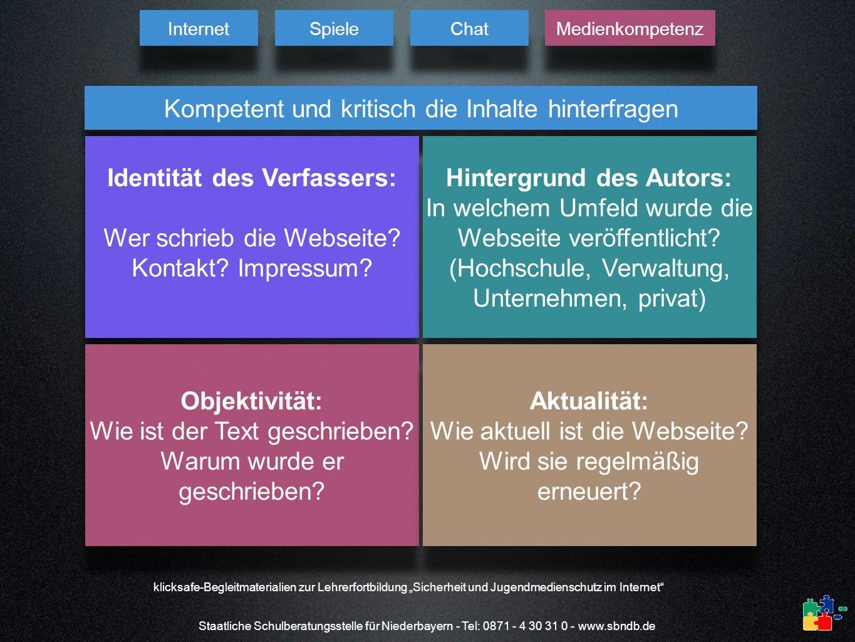 Staatliche Schulberatungsstelle für Niederbayern - Tel: 0871 - 4 30 31 0 - www.sbndb.de klicksafe-Begleitmaterialien zur Lehrerfortbildung Sicherheit