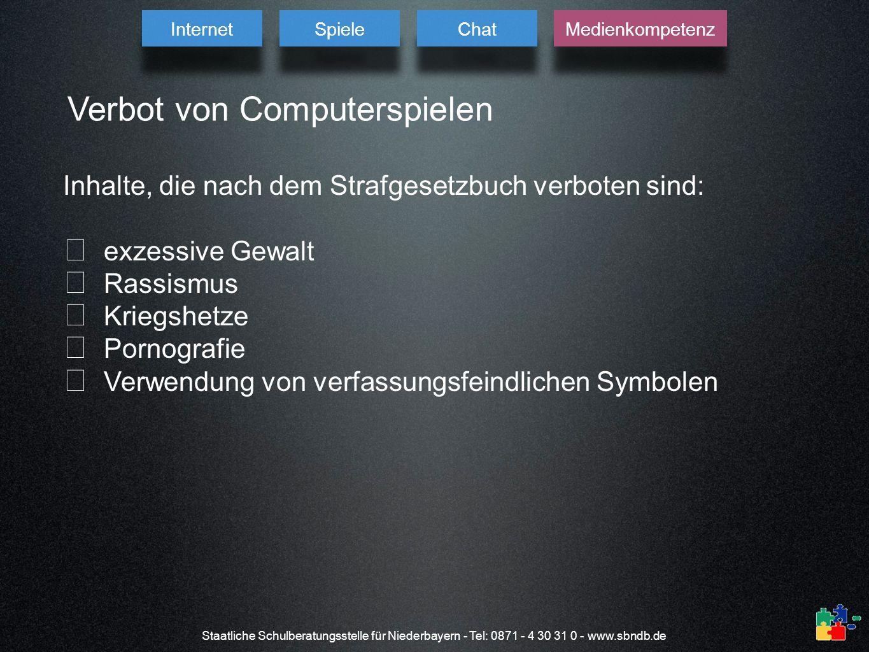 Staatliche Schulberatungsstelle für Niederbayern - Tel: 0871 - 4 30 31 0 - www.sbndb.de Verbot von Computerspielen Inhalte, die nach dem Strafgesetzbu
