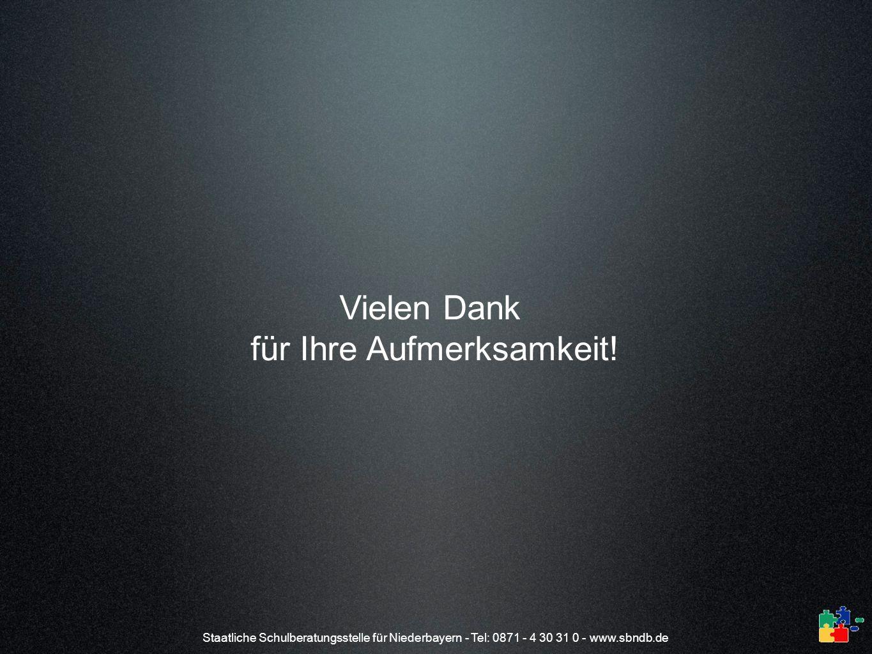 Staatliche Schulberatungsstelle für Niederbayern - Tel: 0871 - 4 30 31 0 - www.sbndb.de Vielen Dank für Ihre Aufmerksamkeit!