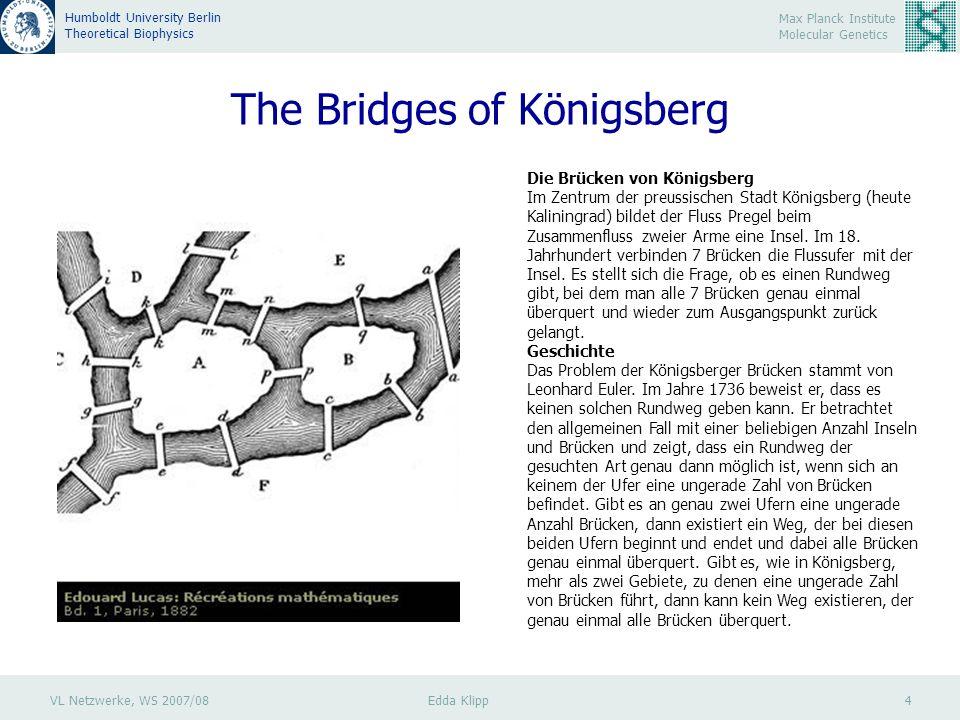 VL Netzwerke, WS 2007/08 Edda Klipp 5 Max Planck Institute Molecular Genetics Humboldt University Berlin Theoretical Biophysics Graphs: Definitions A edge vertex, node A graph is a tuple (V,E) with V a set of n vertices and a set of m edges E : G=(V,E) Example: Proteins – vertices, interactions – edges B C vertex – Knoten edge – Kante tuple – Tupel, geordnete Menge set – Menge