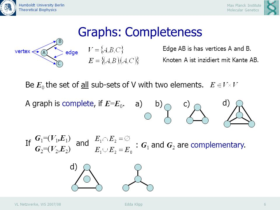 VL Netzwerke, WS 2007/08 Edda Klipp 6 Max Planck Institute Molecular Genetics Humboldt University Berlin Theoretical Biophysics Graphs: Completeness A