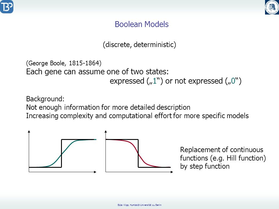 Edda Klipp, Humboldt-Universität zu Berlin Boolean Models (George Boole, 1815-1864) Each gene can assume one of two states: expressed (1) or not expre