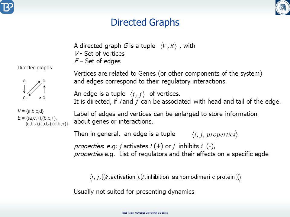 Edda Klipp, Humboldt-Universität zu Berlin Directed Graphs ab cd Directed graphs V = {a,b,c,d} E = {(a,c,+),(b,c,+), (c,b,-),(c,d,-),(d,b,+)} A direct