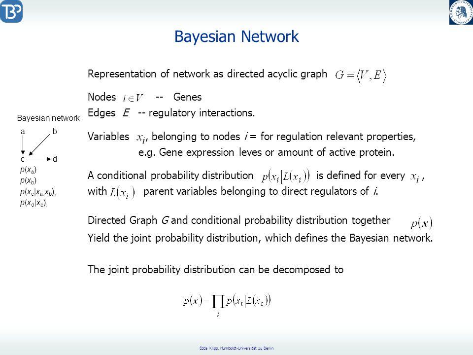 Edda Klipp, Humboldt-Universität zu Berlin Bayesian Network Representation of network as directed acyclic graph Nodes -- Genes Edges E -- regulatory interactions.