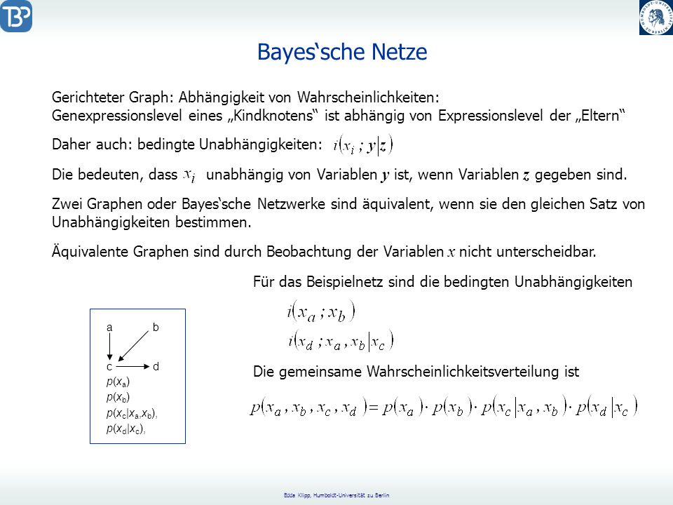 Edda Klipp, Humboldt-Universität zu Berlin Boolean Models (George Boole, 1815-1864) Each gene can assume one of two states: expressed (1) or not expressed (0) Background: Not enough information for more detailed description Increasing complexity and computational effort for more specific models (discrete, deterministic) Replacement of continuous functions (e.g.