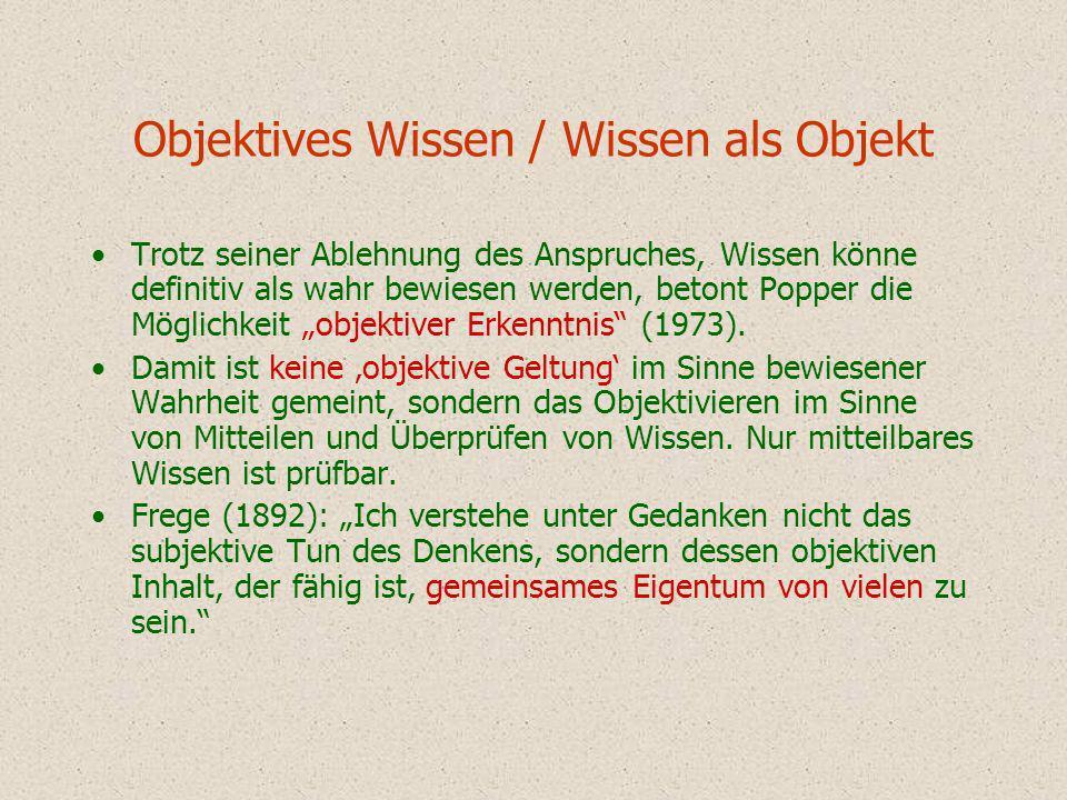 Objektives Wissen / Wissen als Objekt Trotz seiner Ablehnung des Anspruches, Wissen könne definitiv als wahr bewiesen werden, betont Popper die Möglic