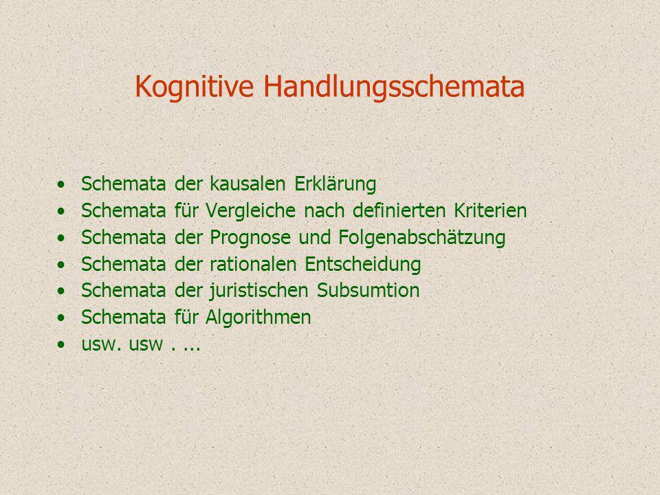 Schemata für Wissensobjekte Schemata der Definition Schemata der Klassifikation Schemata der Deskription Schemata nomologischer Hypothesen Schemata für Rechtsnormen Technische Schemata usw.