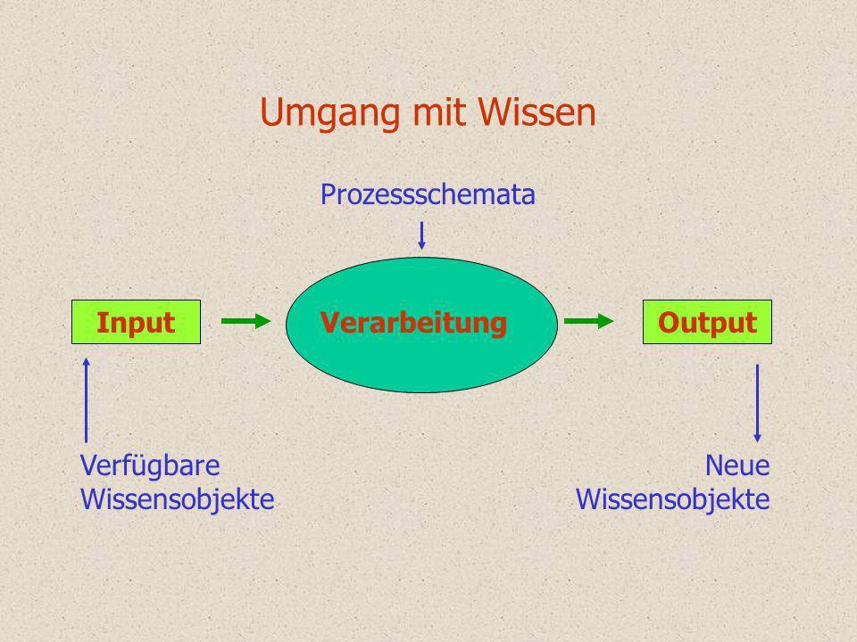 Umgang mit Wissen Verarbeitung InputOutput Prozessschemata Verfügbare Wissensobjekte Neue Wissensobjekte