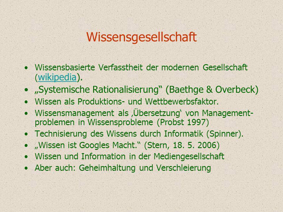 Wissensgesellschaft Wissensbasierte Verfasstheit der modernen Gesellschaft ( wikipedia). wikipedia Systemische Rationalisierung (Baethge & Overbeck) W