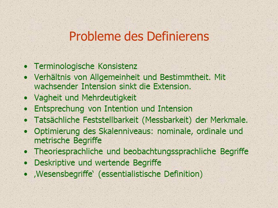 Probleme des Definierens Terminologische Konsistenz Verhältnis von Allgemeinheit und Bestimmtheit. Mit wachsender Intension sinkt die Extension. Vaghe