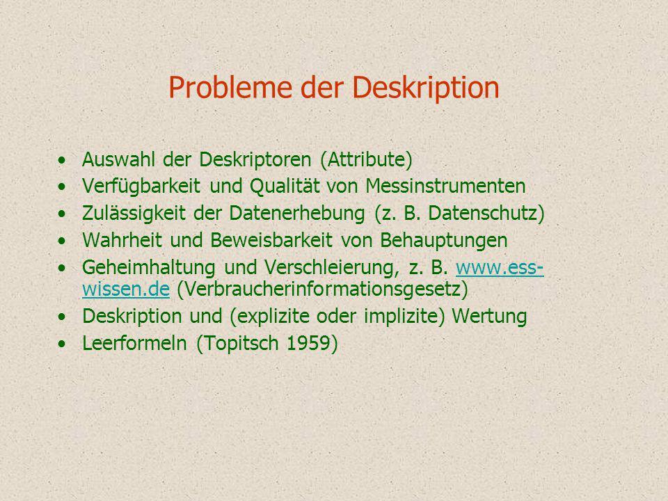 Probleme der Deskription Auswahl der Deskriptoren (Attribute) Verfügbarkeit und Qualität von Messinstrumenten Zulässigkeit der Datenerhebung (z. B. Da