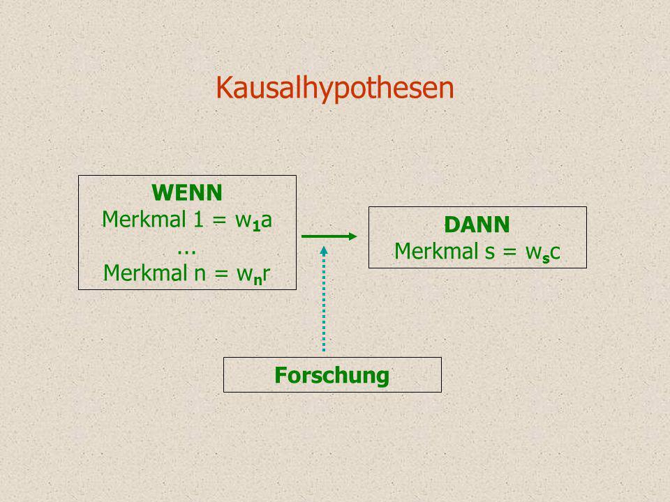 Kausalhypothesen DANN Merkmal s = w s c WENN Merkmal 1 = w 1 a... Merkmal n = w n r Forschung