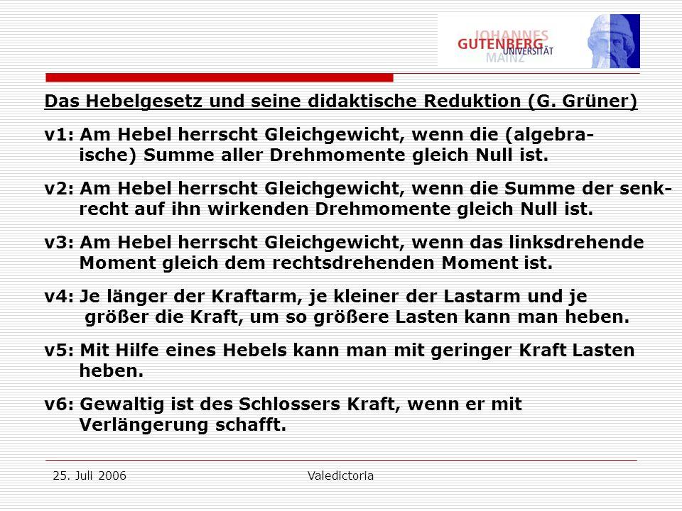 25. Juli 2006Valedictoria Das Hebelgesetz und seine didaktische Reduktion (G.