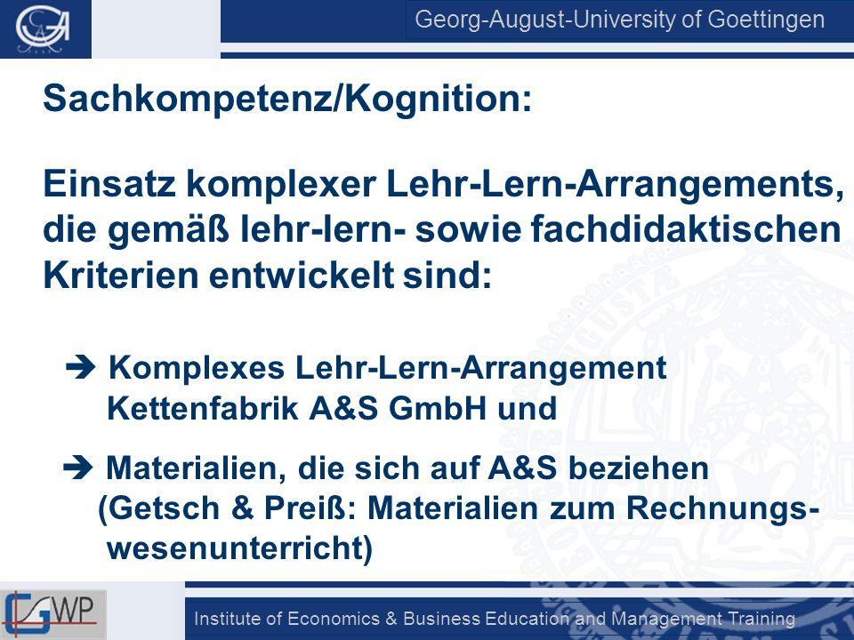 Georg-August-University of Goettingen Institute of Economics & Business Education and Management Training Sachkompetenz/Kognition: Einsatz komplexer L