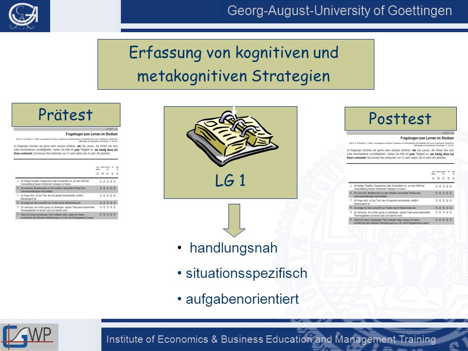 Georg-August-University of Goettingen Institute of Economics & Business Education and Management Training LG 1 handlungsnah situationsspezifisch aufga