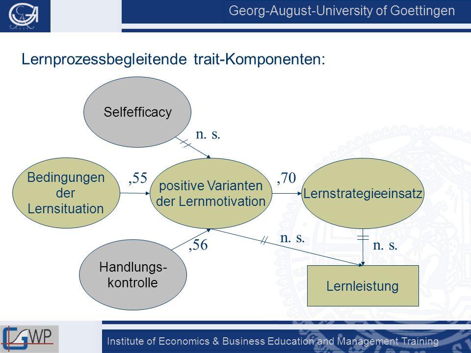 Georg-August-University of Goettingen Institute of Economics & Business Education and Management Training Bedingungen der Lernsituation positive Varia