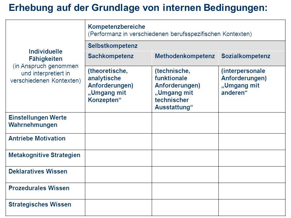 Erhebung auf der Grundlage von internen Bedingungen: Individuelle Fähigkeiten (in Anspruch genommen und interpretiert in verschiedenen Kontexten) Komp