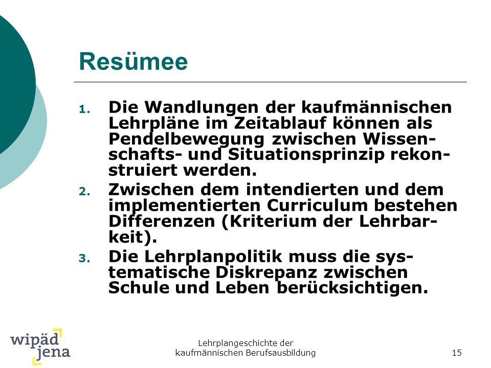 Lehrplangeschichte der kaufmännischen Berufsausbildung15 Resümee 1. Die Wandlungen der kaufmännischen Lehrpläne im Zeitablauf können als Pendelbewegun