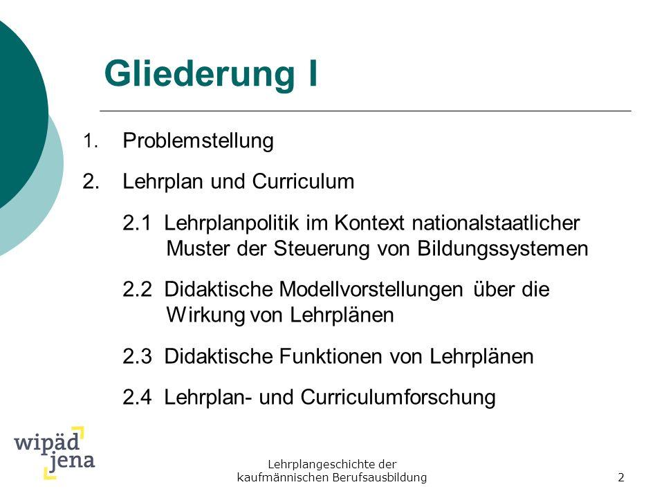 Lehrplangeschichte der kaufmännischen Berufsausbildung2 Gliederung I 1. Problemstellung 2.Lehrplan und Curriculum 2.1 Lehrplanpolitik im Kontext natio