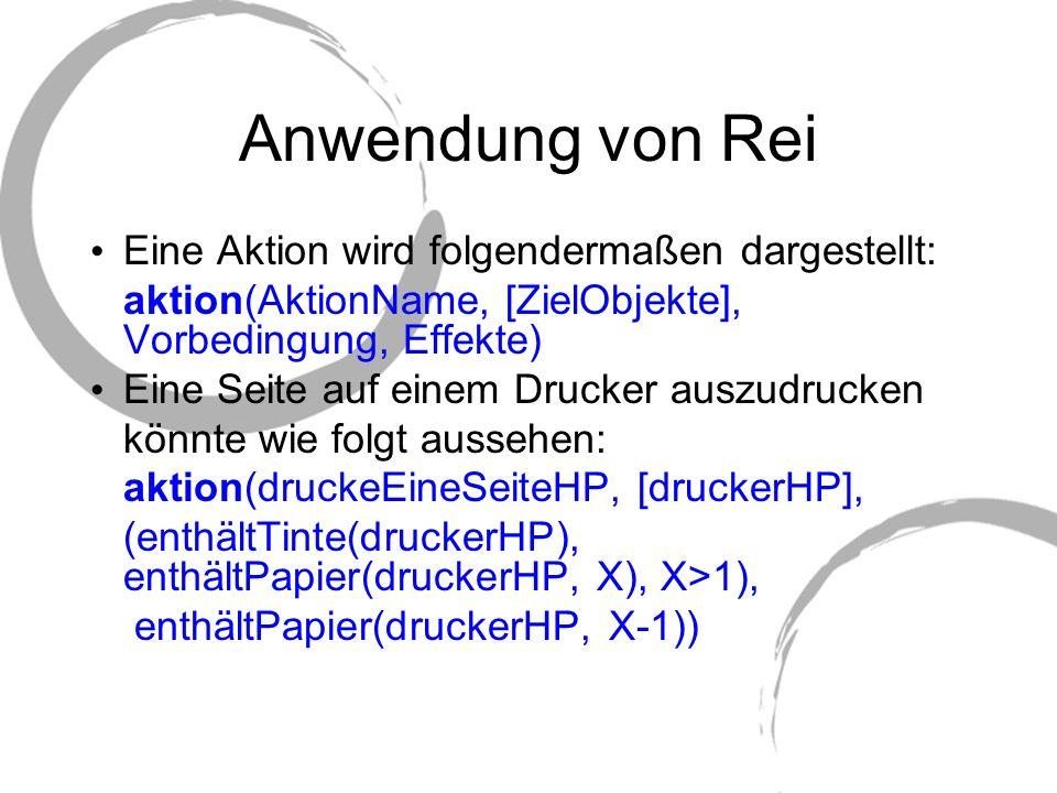 Anwendung von Rei Eine Aktion wird folgendermaßen dargestellt: aktion(AktionName, [ZielObjekte], Vorbedingung, Effekte) Eine Seite auf einem Drucker a