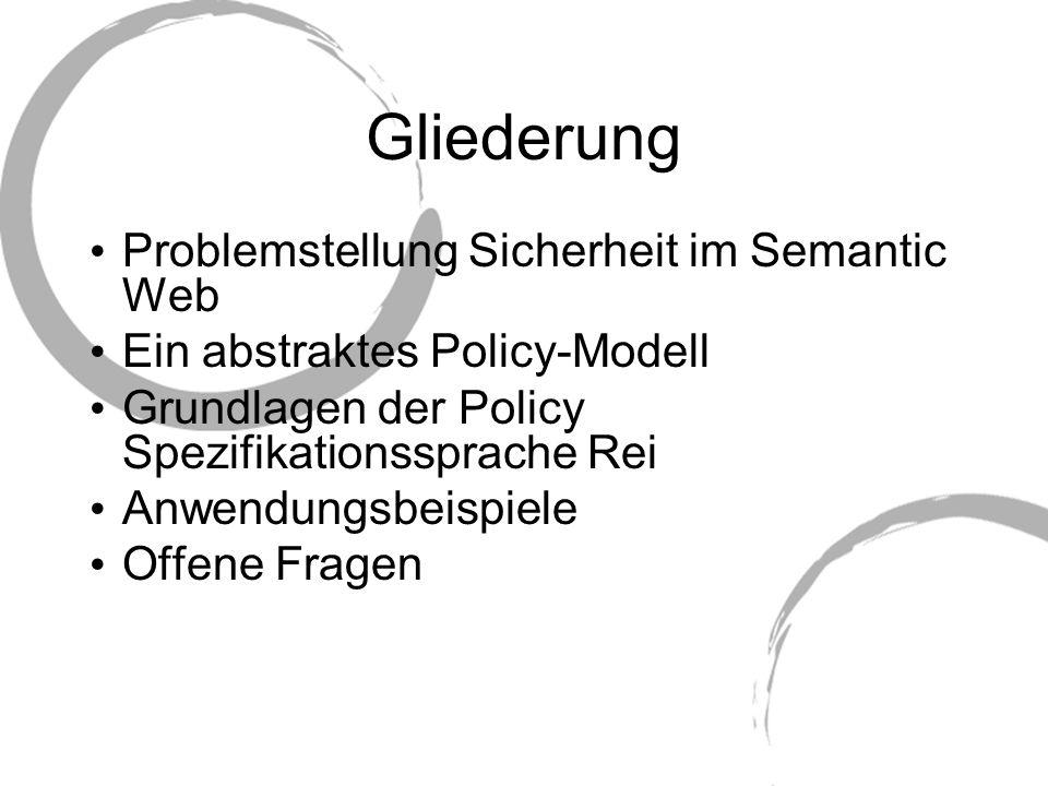 Gliederung Problemstellung Sicherheit im Semantic Web Ein abstraktes Policy-Modell Grundlagen der Policy Spezifikationssprache Rei Anwendungsbeispiele
