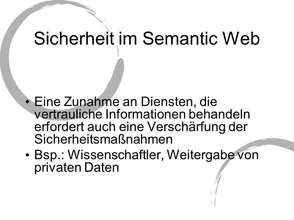 Sicherheit im Semantic Web Eine Zunahme an Diensten, die vertrauliche Informationen behandeln erfordert auch eine Verschärfung der Sicherheitsmaßnahme