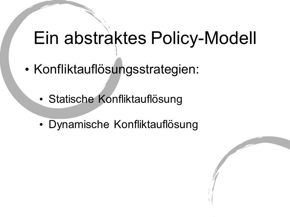 Anwendung von Rei Repräsentation von domänenspezifischem Wissen Komplexität eines policybasierten Frameworks hängt stark von der Komplexität der domänenspezifischen Ontologien ab Die Rei Policy Engine kann über Ontologien in RDF, DAML+OIL und OWL urteilen