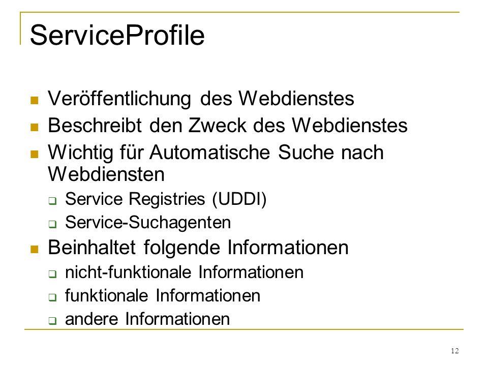 12 ServiceProfile Veröffentlichung des Webdienstes Beschreibt den Zweck des Webdienstes Wichtig für Automatische Suche nach Webdiensten Service Registries (UDDI) Service-Suchagenten Beinhaltet folgende Informationen nicht-funktionale Informationen funktionale Informationen andere Informationen