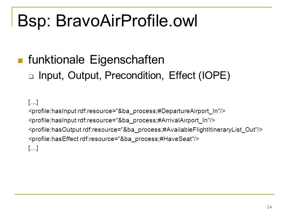 14 Bsp: BravoAirProfile.owl funktionale Eigenschaften Input, Output, Precondition, Effect (IOPE) […] […]