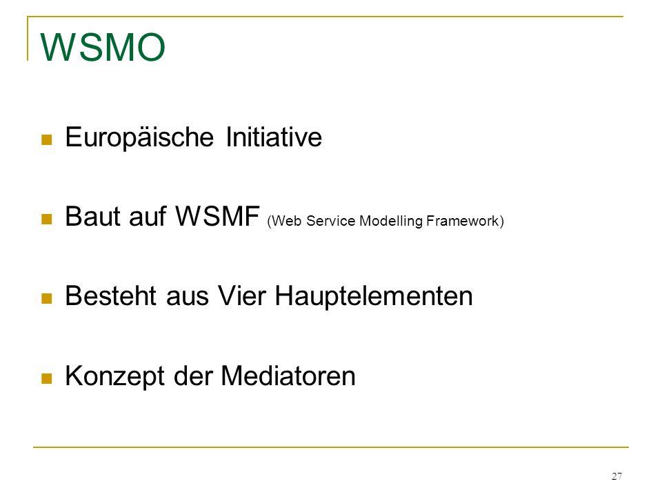 27 WSMO Europäische Initiative Baut auf WSMF (Web Service Modelling Framework) Besteht aus Vier Hauptelementen Konzept der Mediatoren