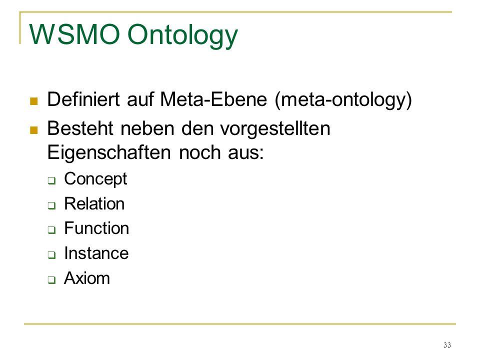 33 WSMO Ontology Definiert auf Meta-Ebene (meta-ontology) Besteht neben den vorgestellten Eigenschaften noch aus: Concept Relation Function Instance Axiom