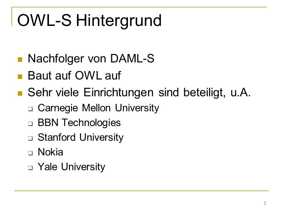 5 OWL-S Hintergrund Nachfolger von DAML-S Baut auf OWL auf Sehr viele Einrichtungen sind beteiligt, u.A.