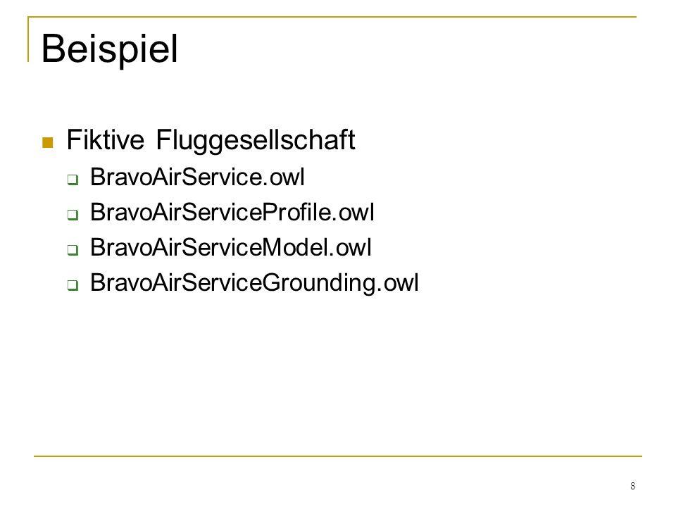 8 Beispiel Fiktive Fluggesellschaft BravoAirService.owl BravoAirServiceProfile.owl BravoAirServiceModel.owl BravoAirServiceGrounding.owl