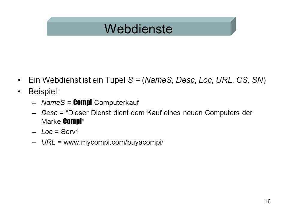16 Webdienste Ein Webdienst ist ein Tupel S = (NameS, Desc, Loc, URL, CS, SN) Beispiel: –NameS = Compi Computerkauf –Desc = Dieser Dienst dient dem Kauf eines neuen Computers der Marke Compi –Loc = Serv1 –URL = www.mycompi.com/buyacompi/
