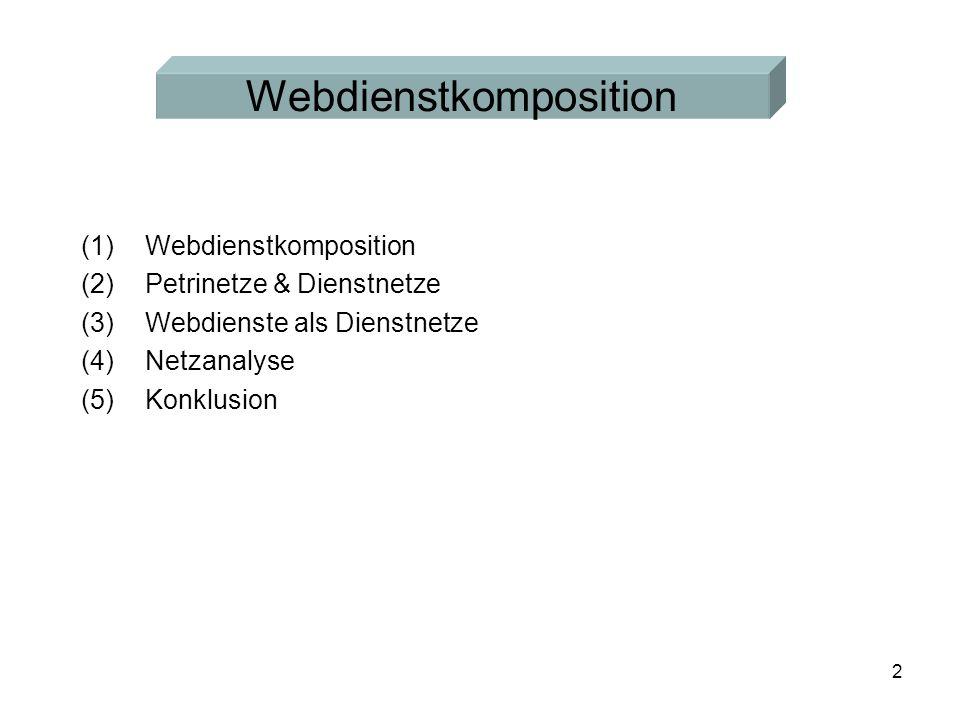 2 (1)Webdienstkomposition (2)Petrinetze & Dienstnetze (3)Webdienste als Dienstnetze (4)Netzanalyse (5)Konklusion Webdienstkomposition